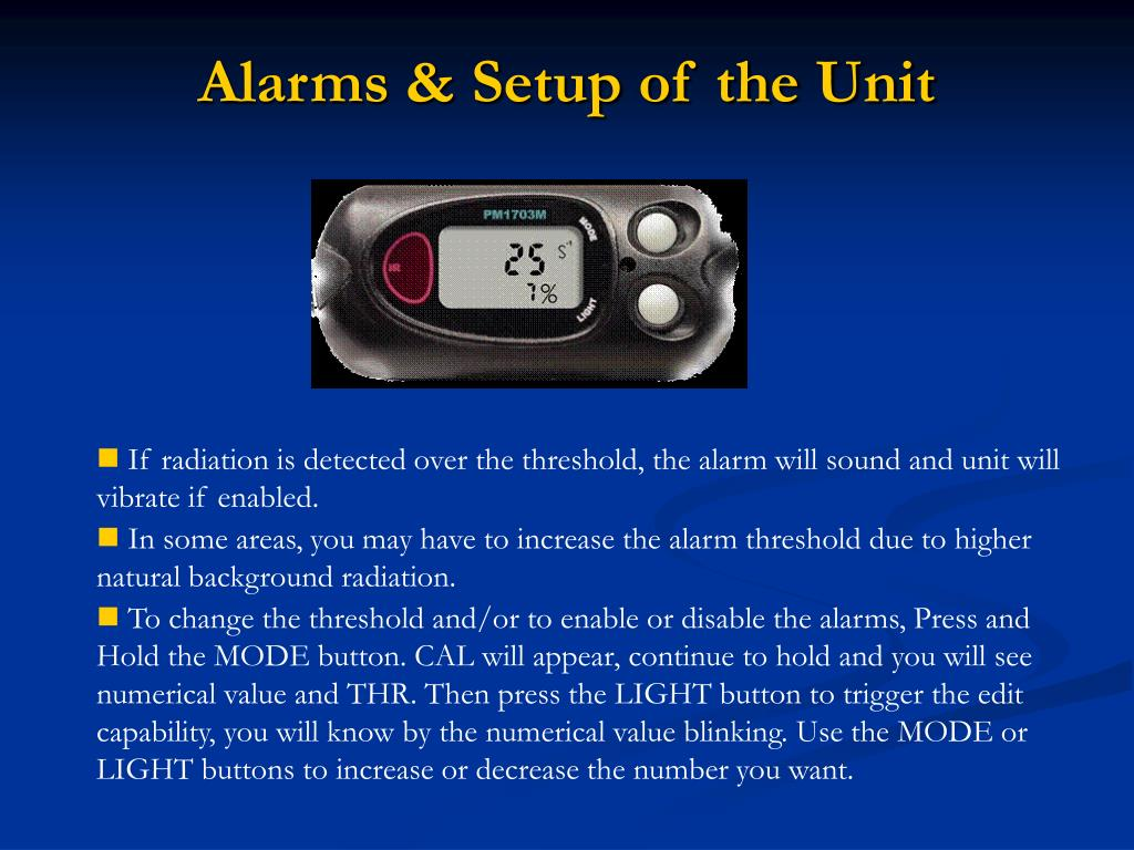 Alarms & Setup of the Unit