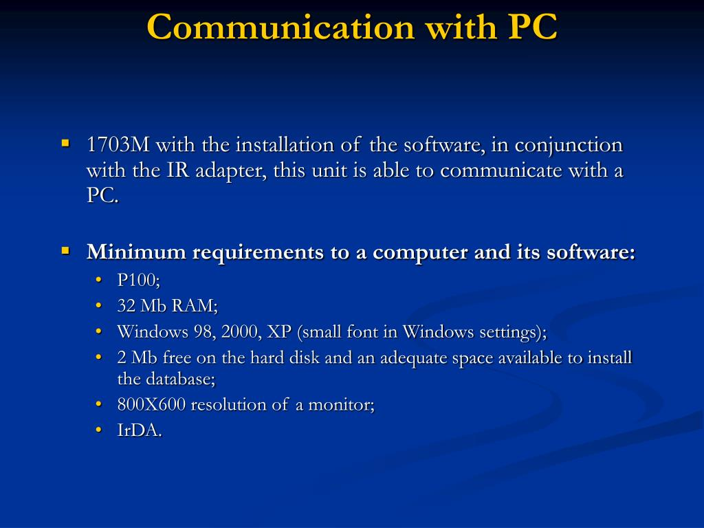 Communication with PC