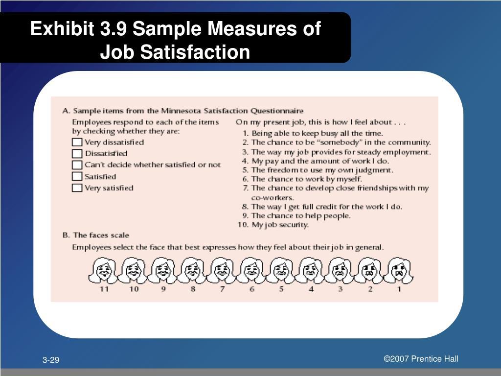 Exhibit 3.9 Sample Measures of Job Satisfaction