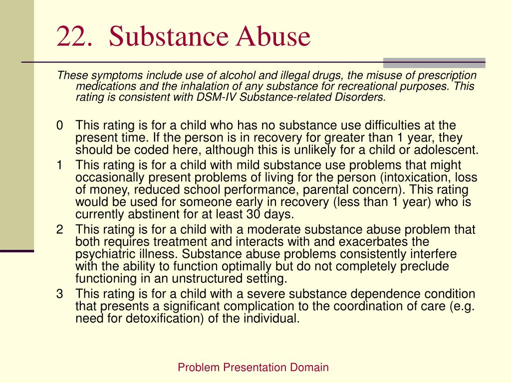 22.  Substance Abuse
