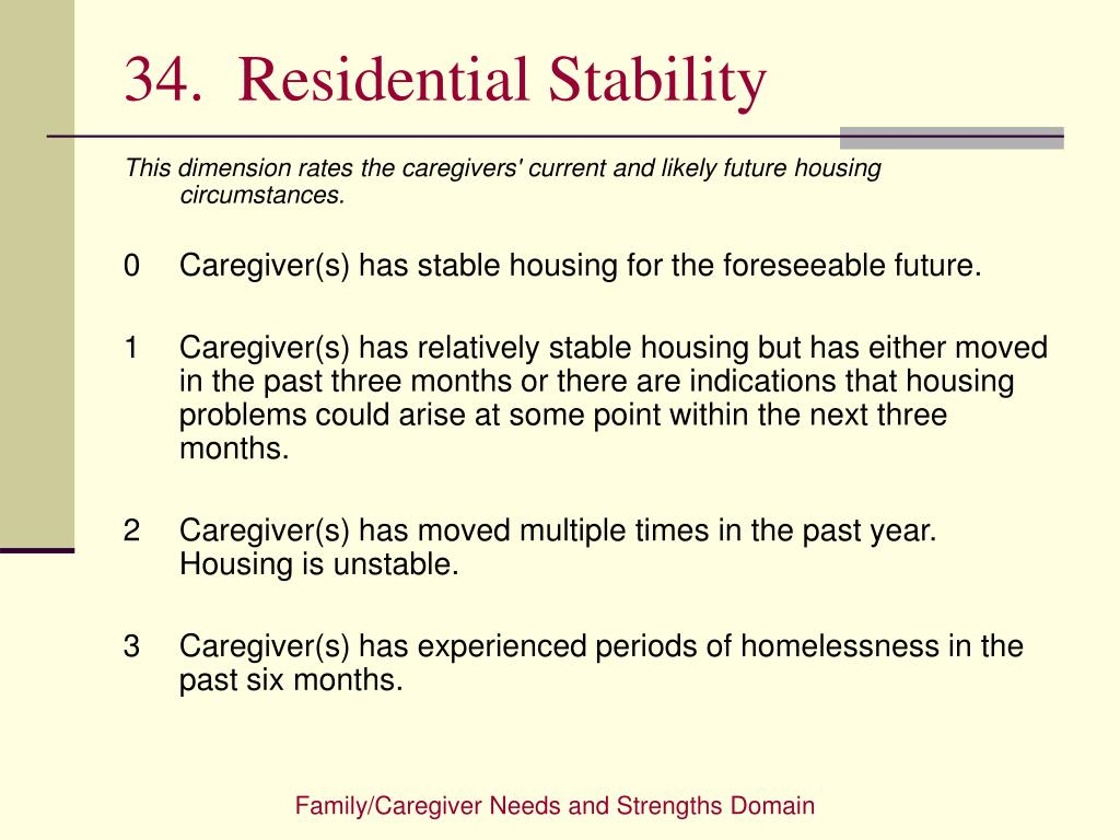 34.  Residential Stability