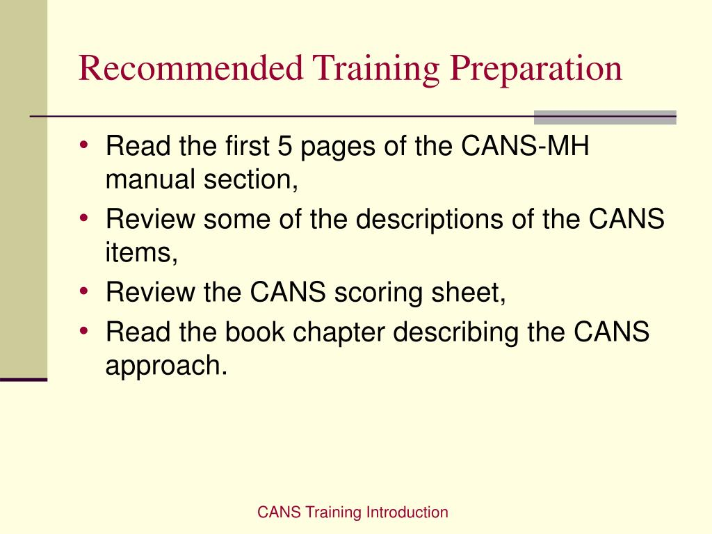 Recommended Training Preparation