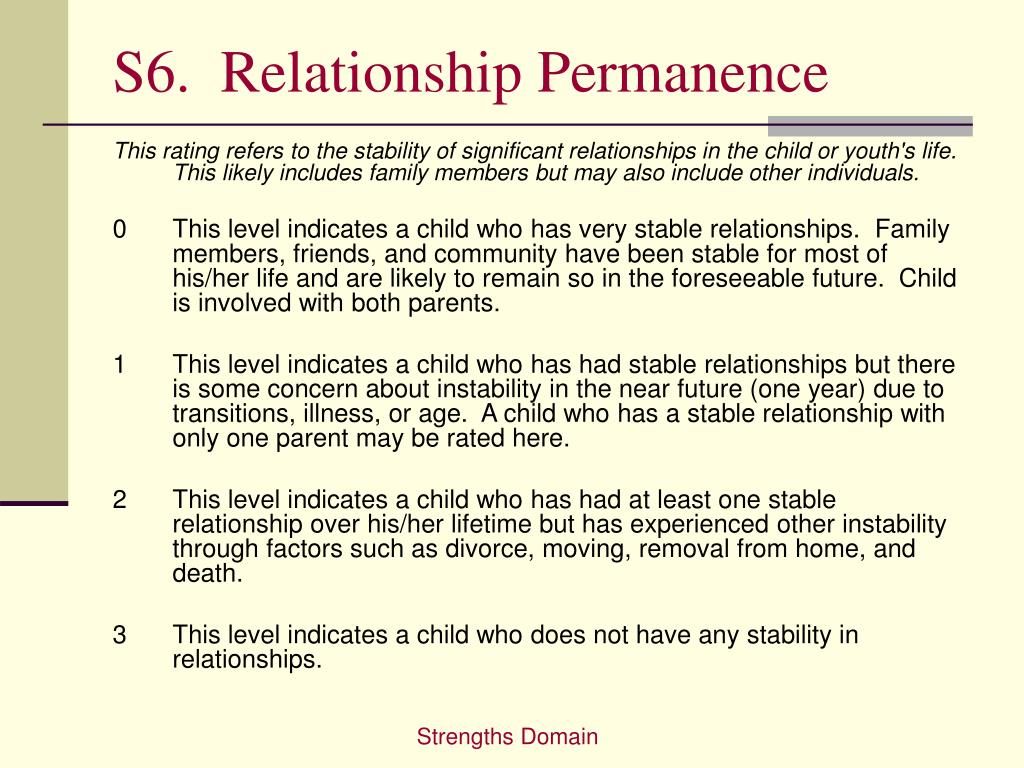 S6.  Relationship Permanence
