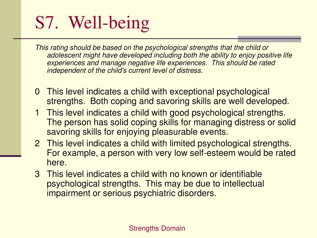 S7.  Well-being