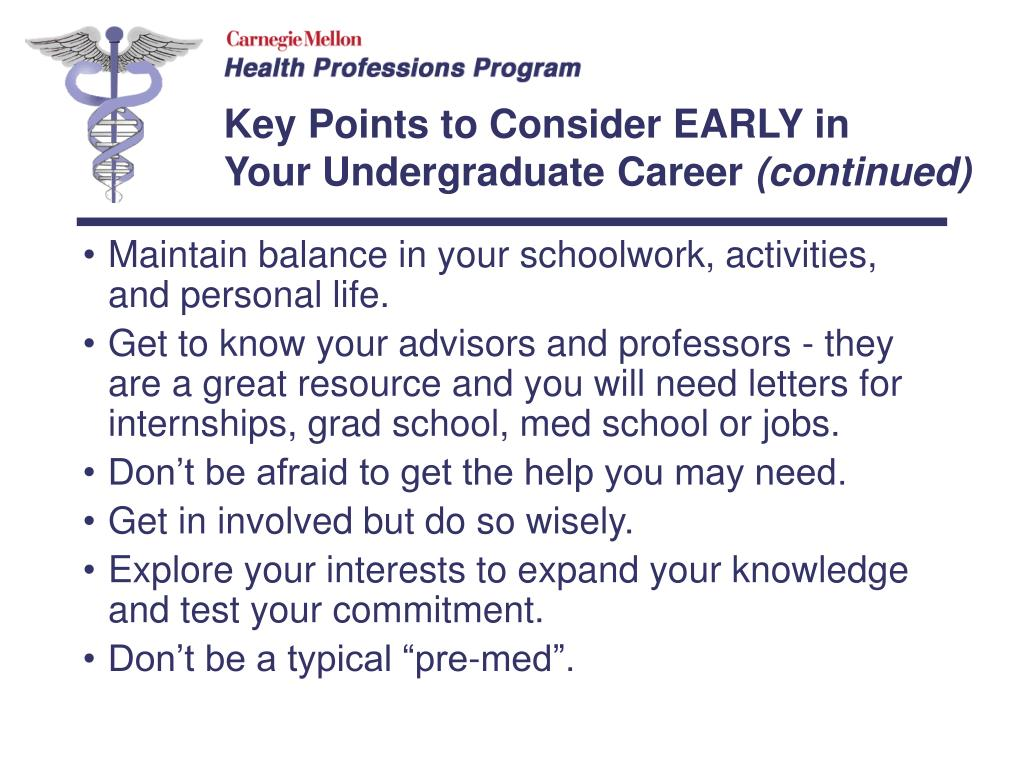 Maintain balance in your schoolwork, activities, and personal life.