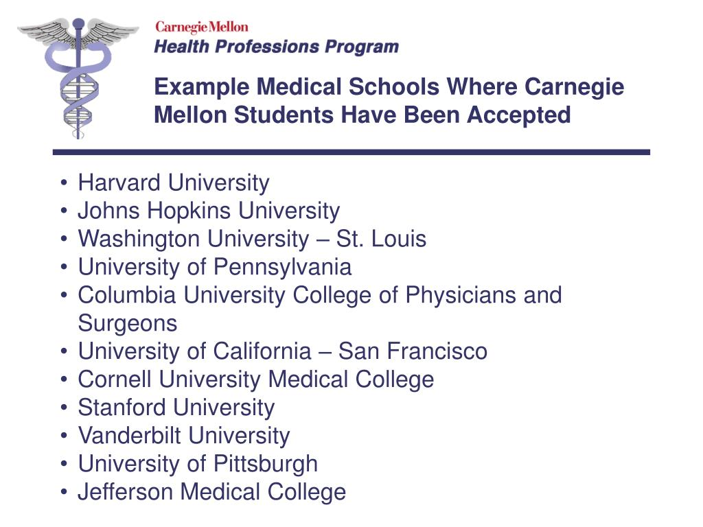 Example Medical Schools Where Carnegie