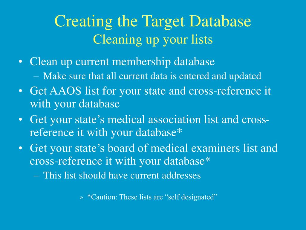 Creating the Target Database
