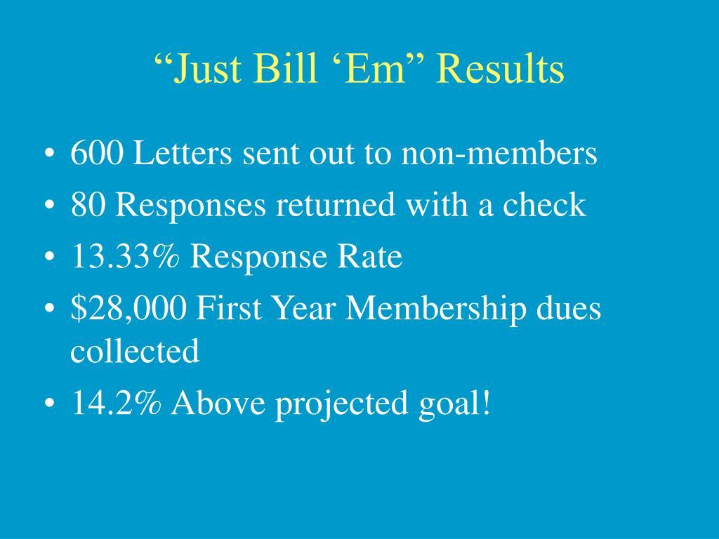"""""""Just Bill 'Em"""" Results"""