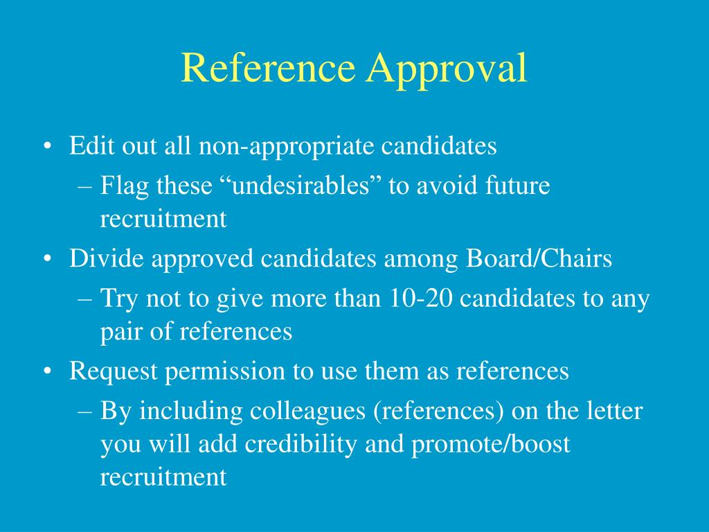 Reference Approval