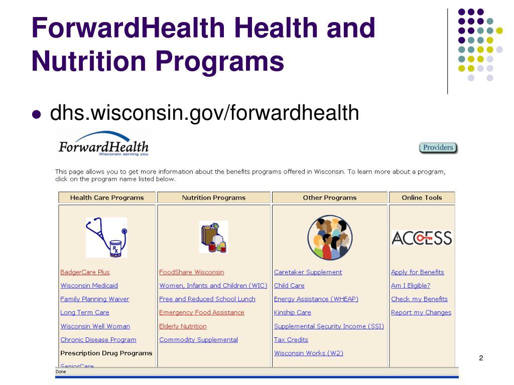 ForwardHealth Health and Nutrition Programs