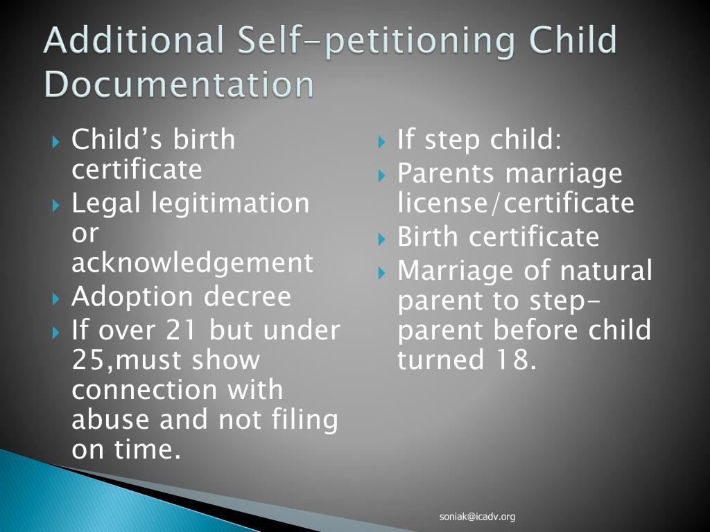 Additional Self-petitioning Child Documentation