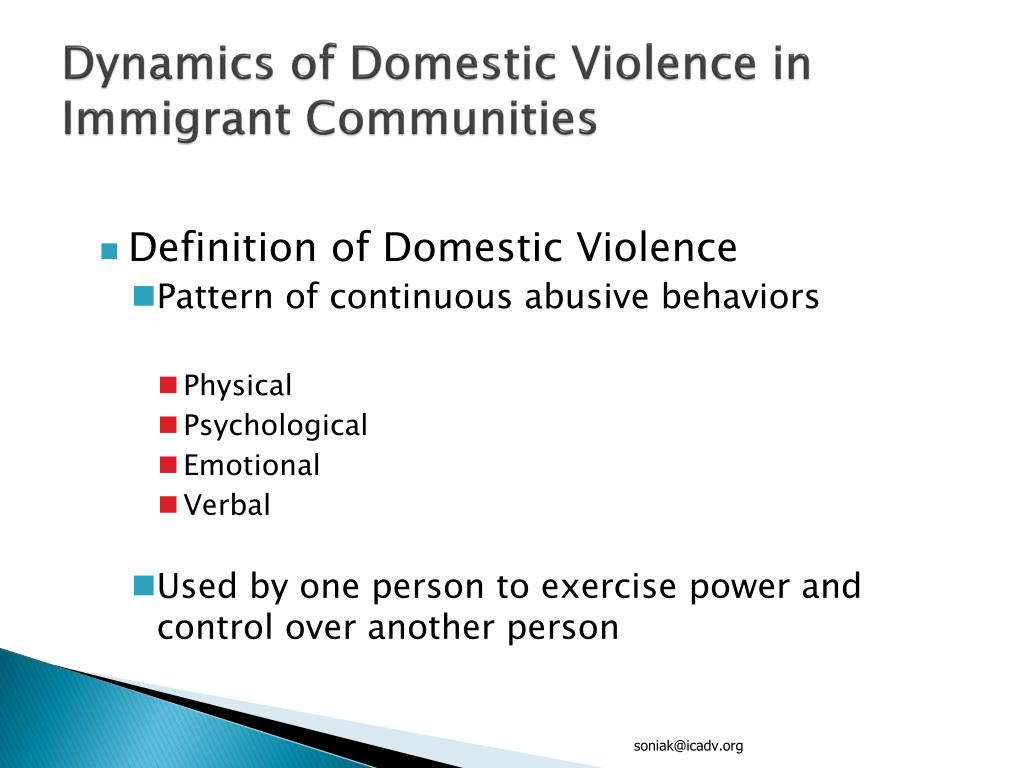 Dynamics of Domestic Violence in Immigrant Communities