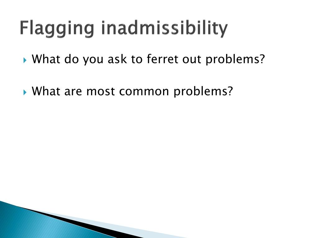 Flagging inadmissibility