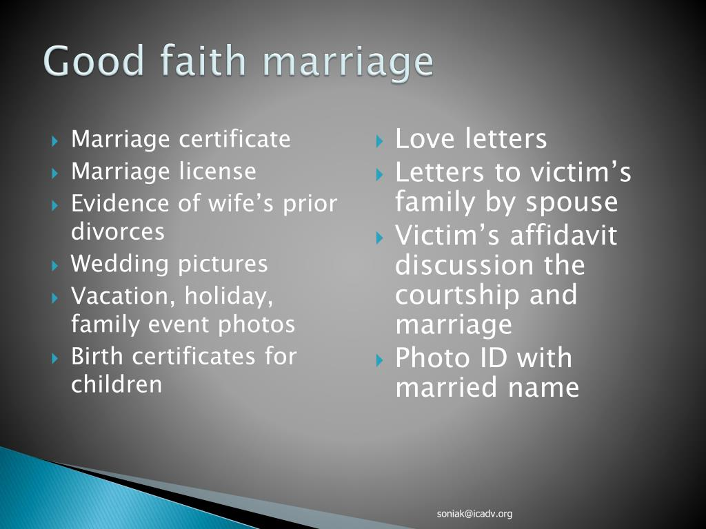 Good faith marriage