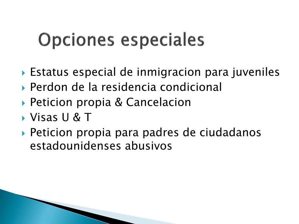 Opciones especiales
