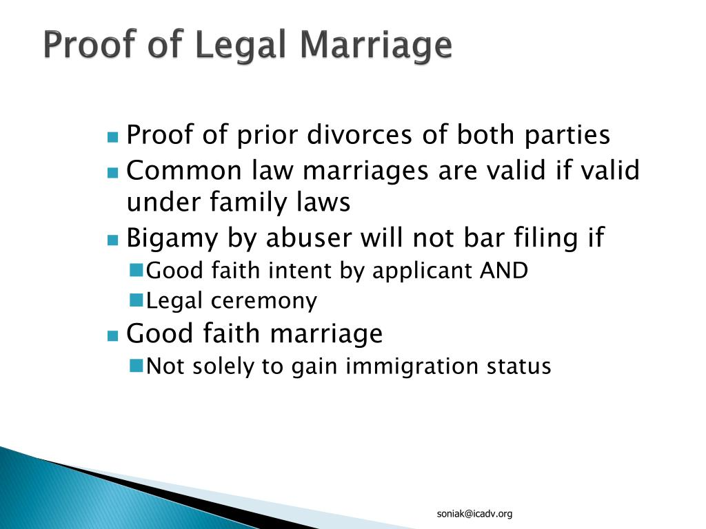 Proof of Legal Marriage