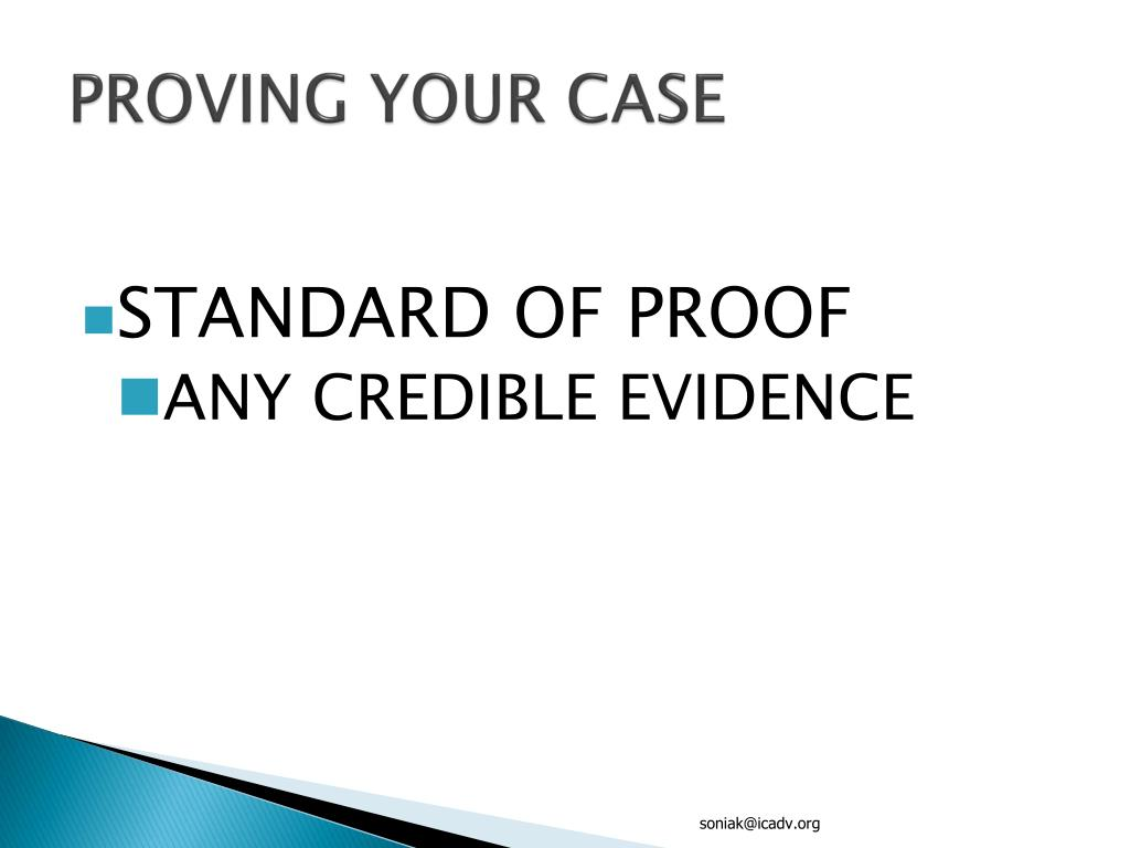 PROVING YOUR CASE