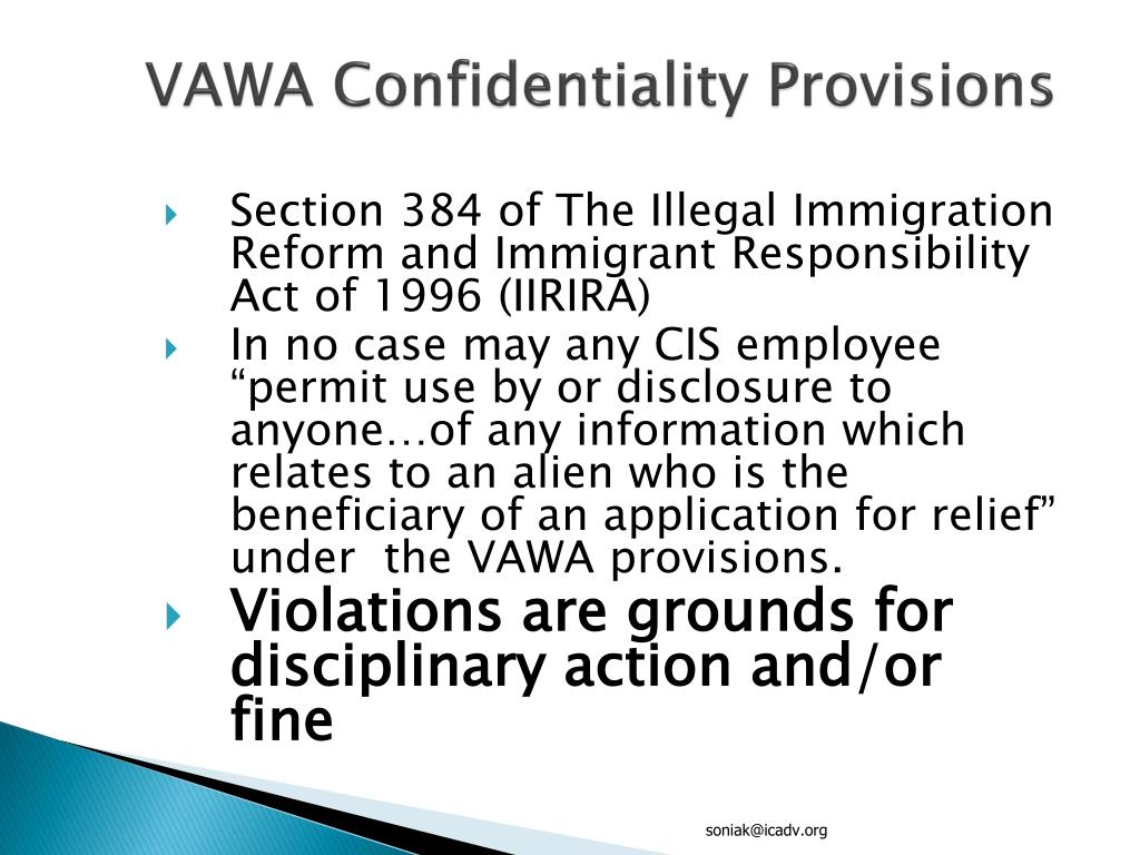 VAWA Confidentiality Provisions
