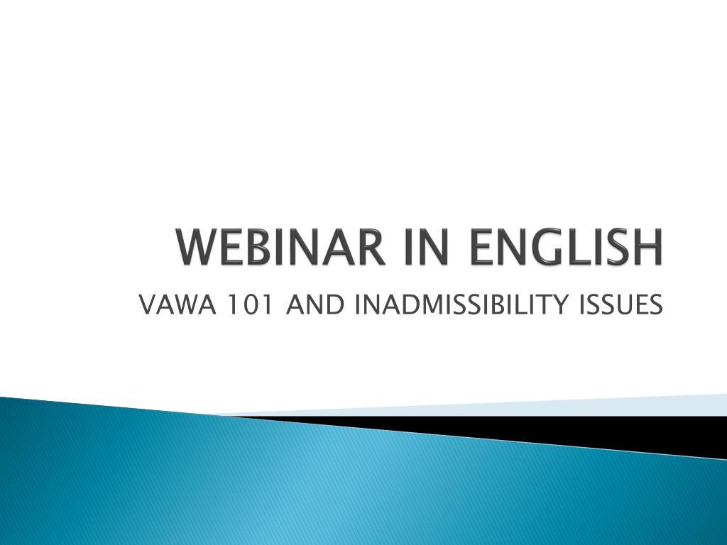 WEBINAR IN ENGLISH