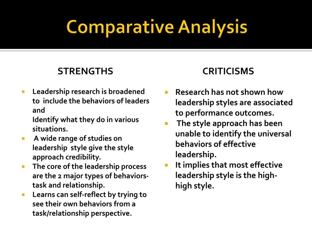 style approach Behavior of the leader the style approach to leadership emphasizes the behavior of the leader it analyzes how leaders act in various situations this leadership theory not only looks at the leader but also those being led and the.