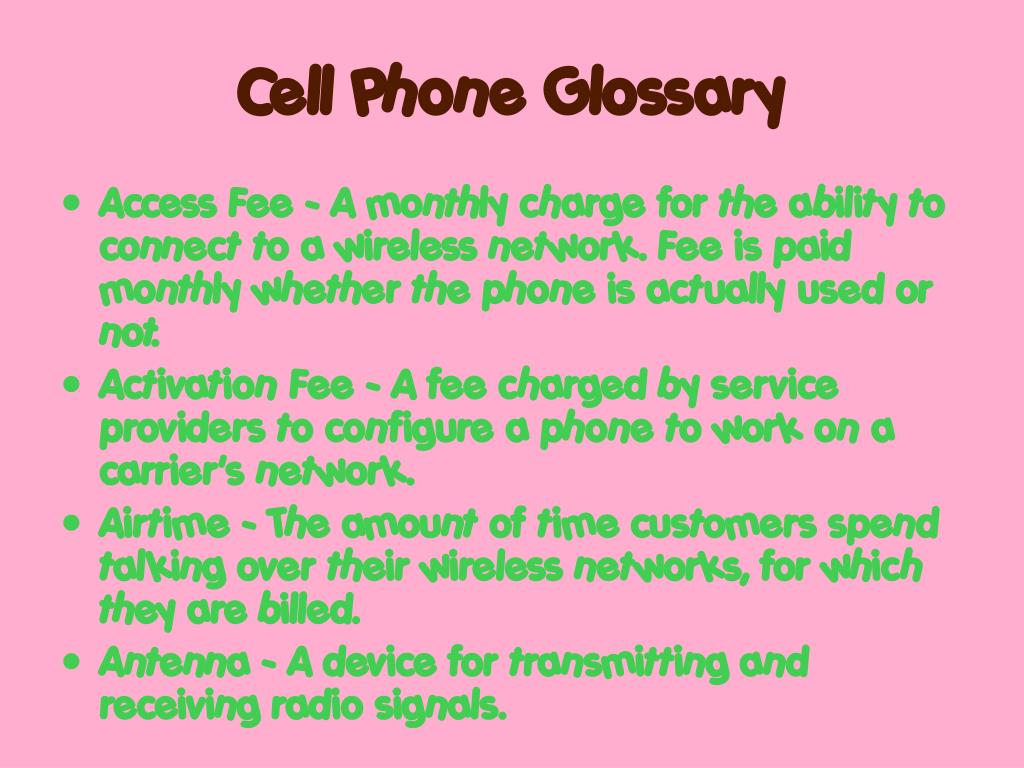 Cell Phone Glossary