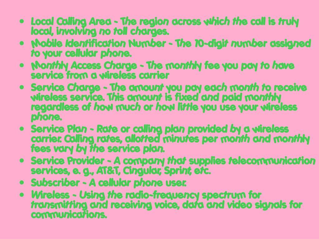 Local Calling Area -