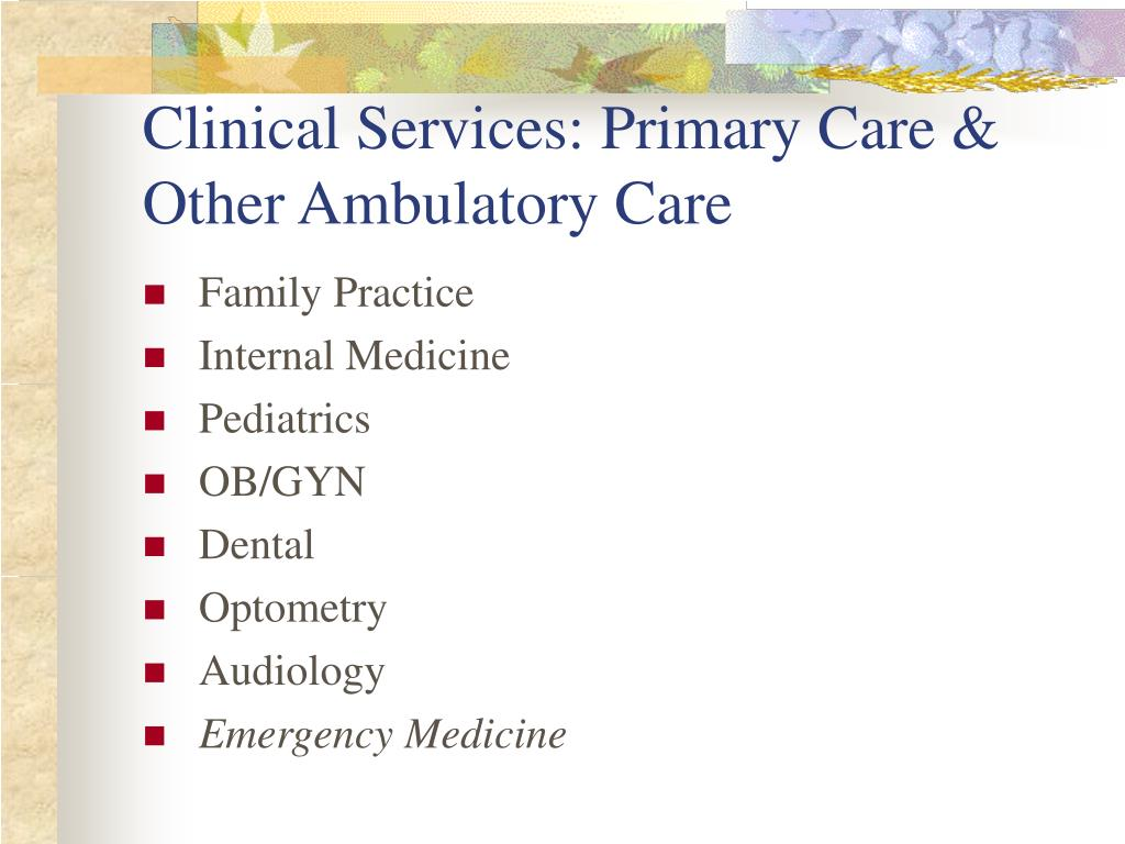 Clinical Services: Primary Care & Other Ambulatory Care