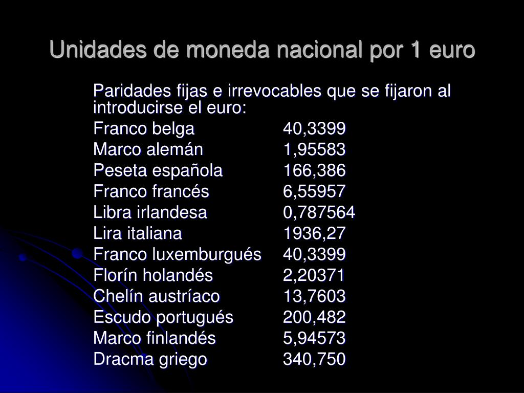 Unidades de moneda nacional por 1 euro