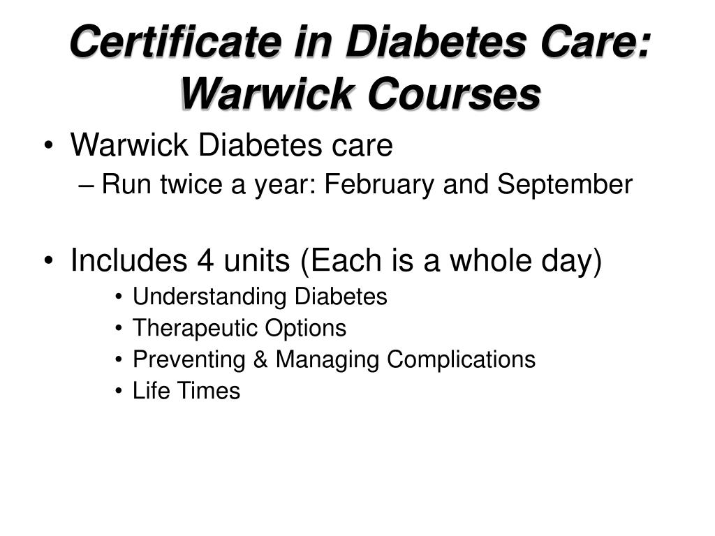 Certificate in Diabetes Care: Warwick Courses