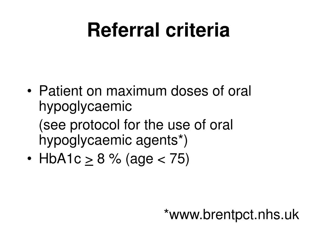 Referral criteria