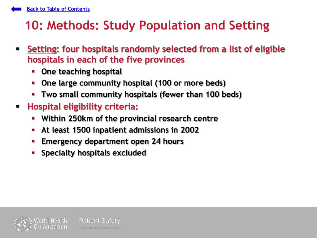 10: Methods: Study Population and Setting