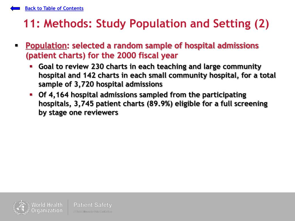11: Methods: Study Population and Setting (2)