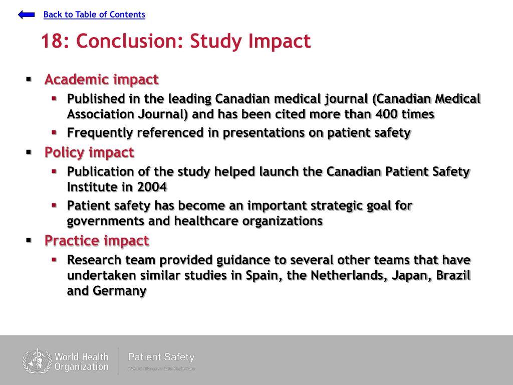 18: Conclusion: Study Impact