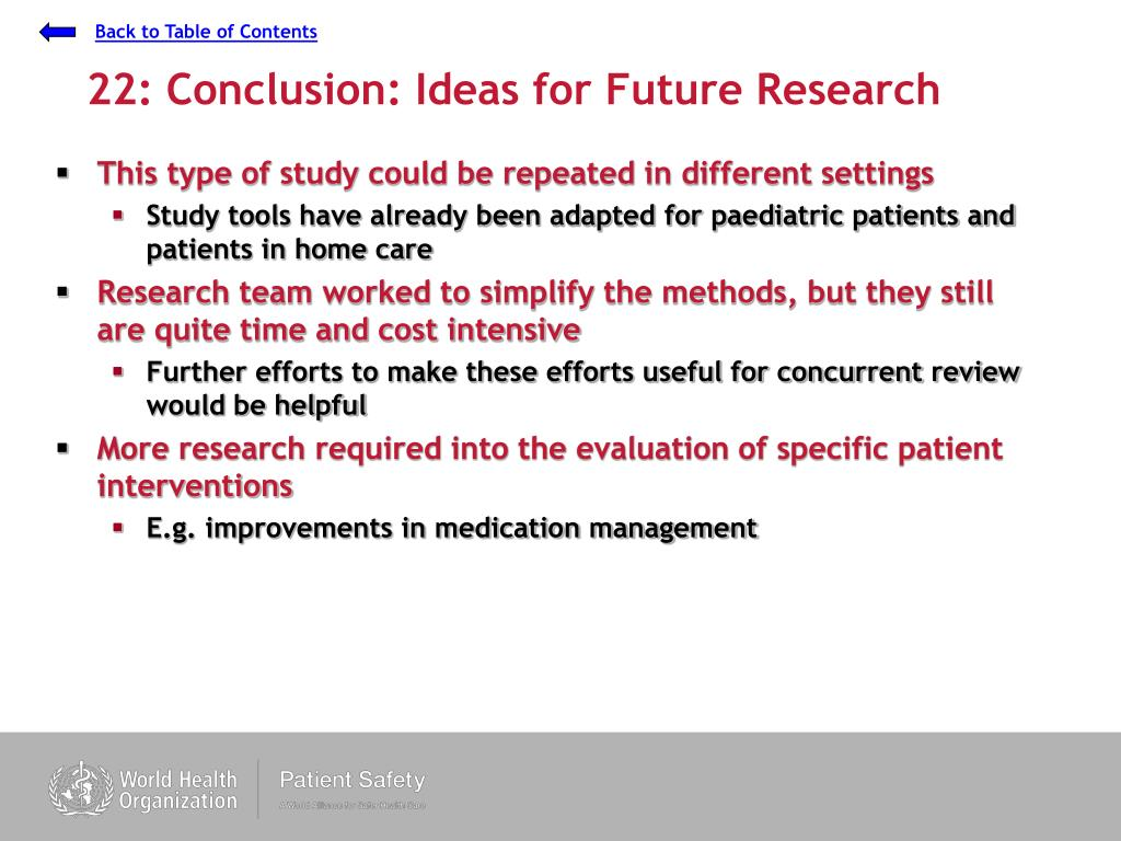 22: Conclusion: Ideas for Future Research