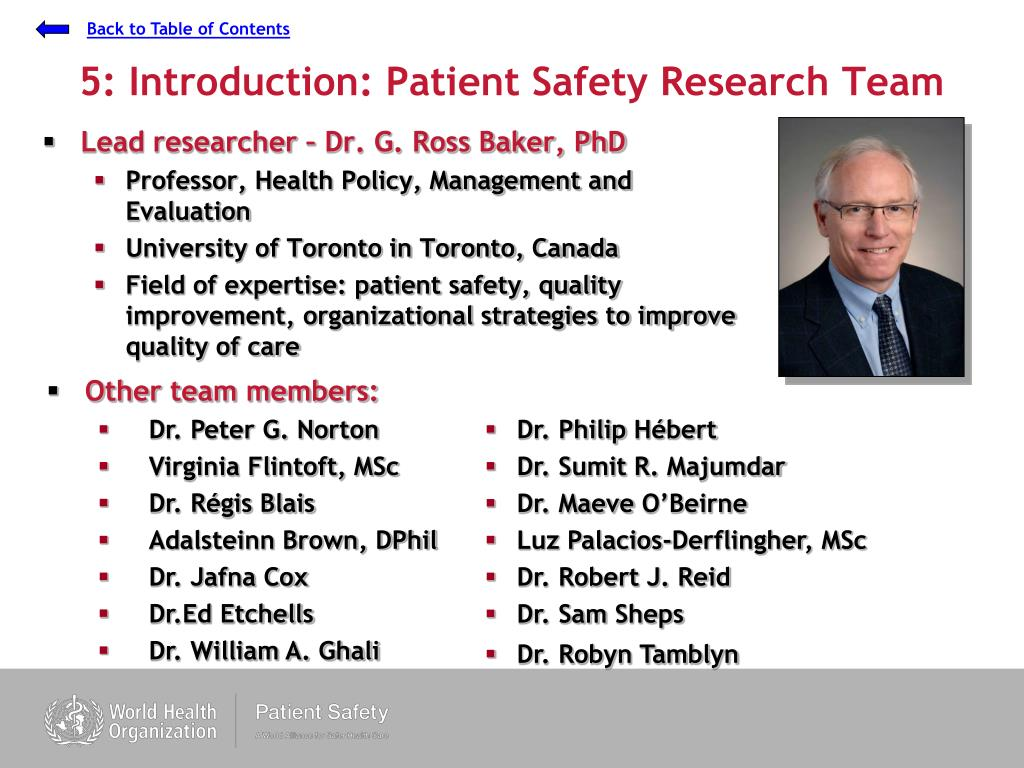 5: Introduction: Patient Safety Research Team