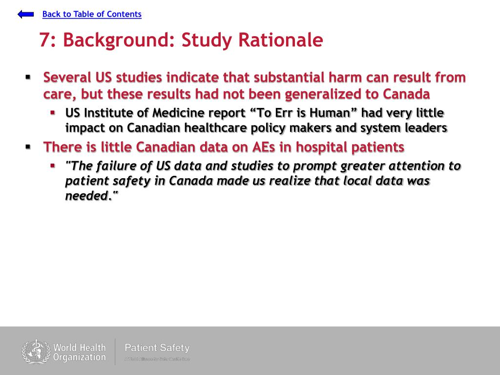 7: Background: Study Rationale