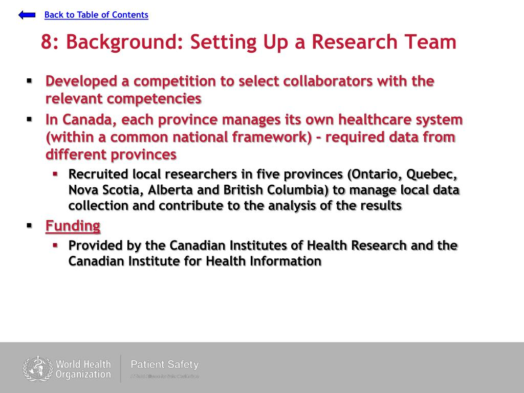 8: Background: Setting Up a Research Team