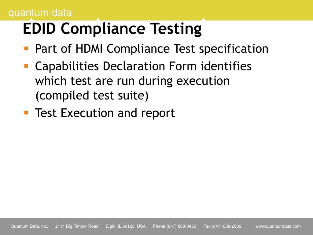 EDID Compliance Testing