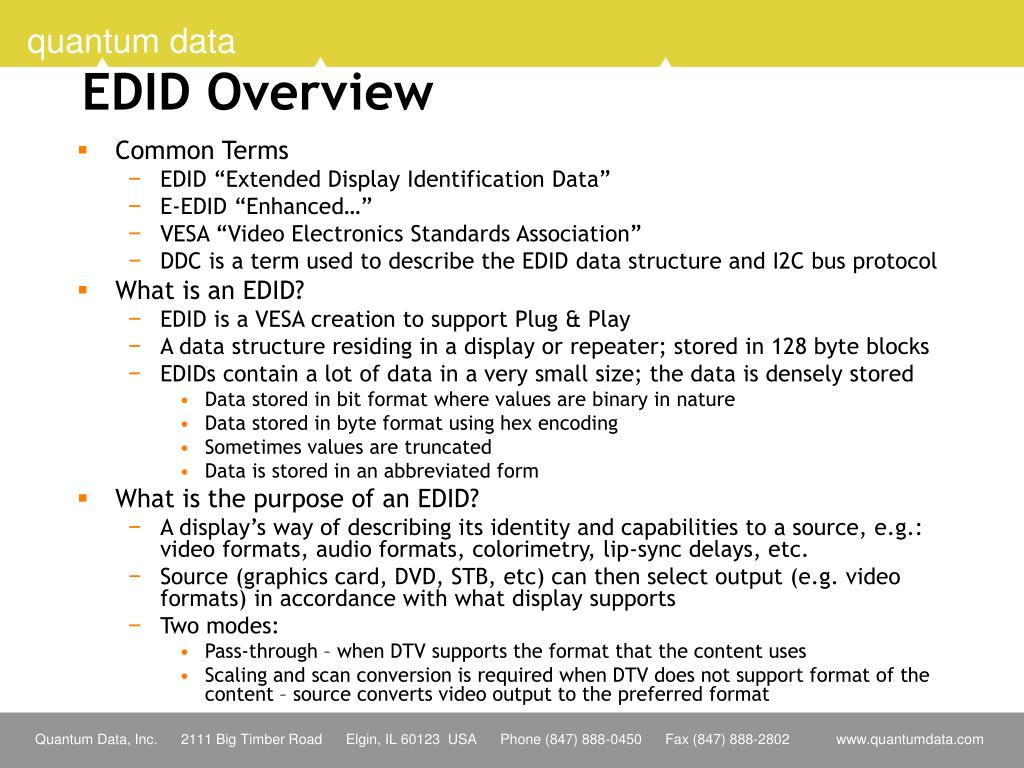 EDID Overview