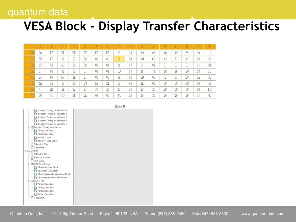 VESA Block - Display Transfer Characteristics