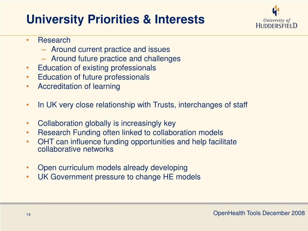University Priorities & Interests