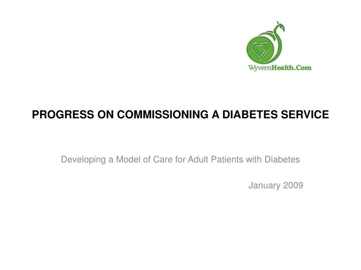 Progress on commissioning a diabetes service l.jpg