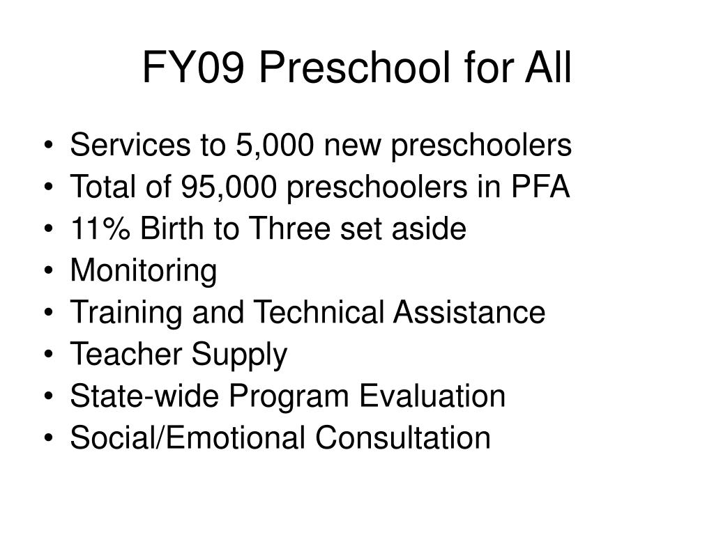 FY09 Preschool for All