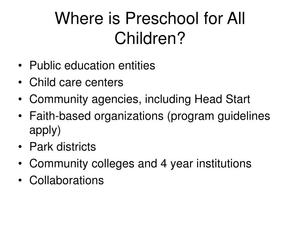 Where is Preschool for All Children?