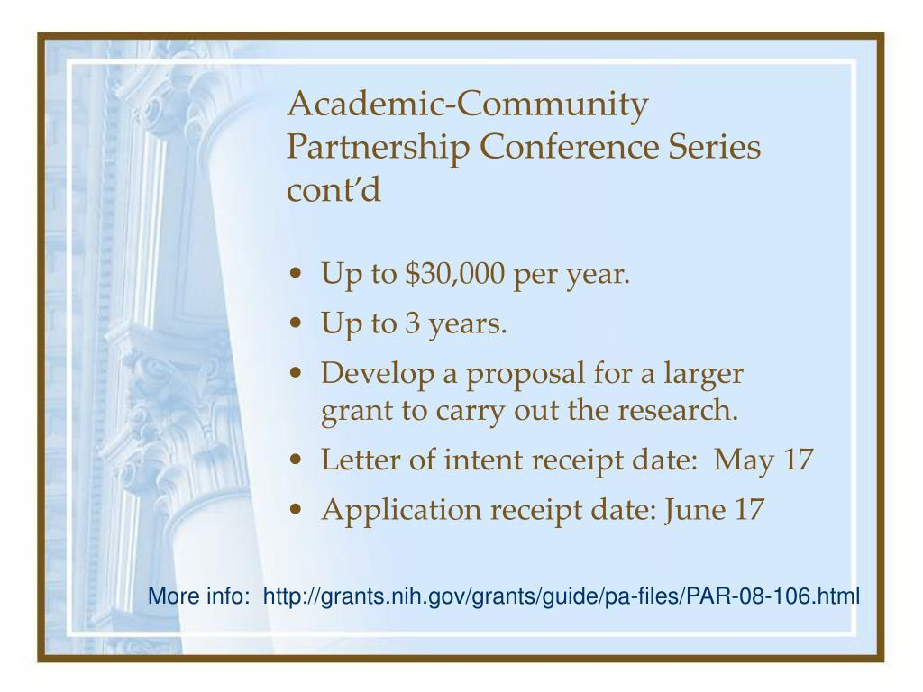 Academic-Community Partnership Conference Series cont'd