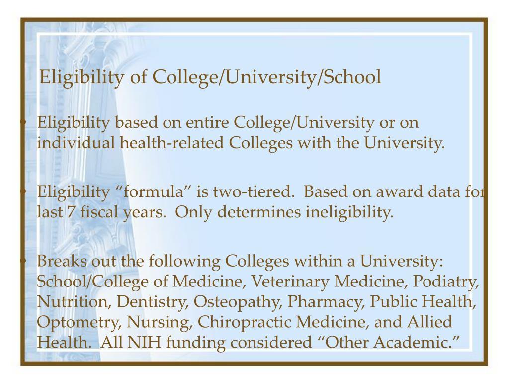 Eligibility of College/University/School