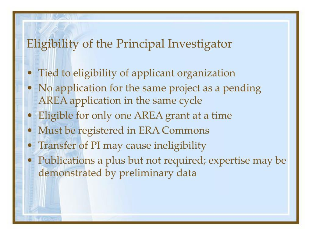 Eligibility of the