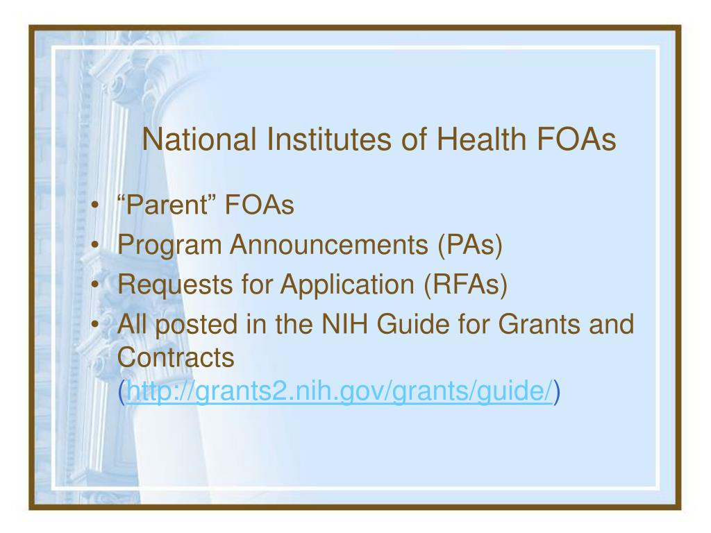 National Institutes of Health FOAs