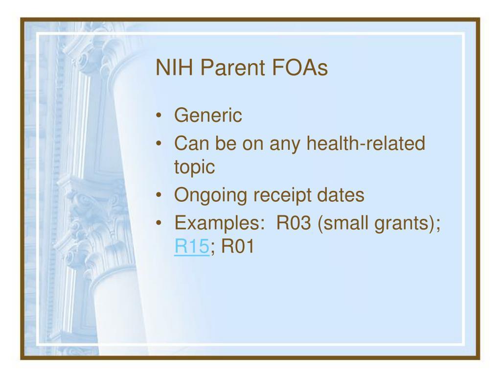 NIH Parent FOAs