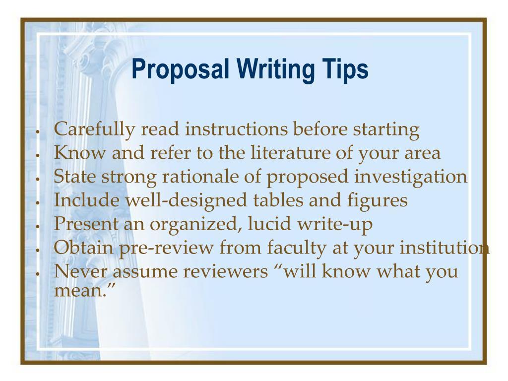 Proposal Writing Tips